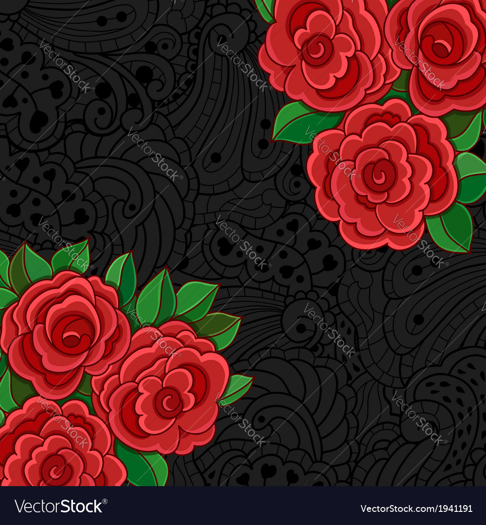 Black background with red roses and leaves vector | Price: 1 Credit (USD $1)