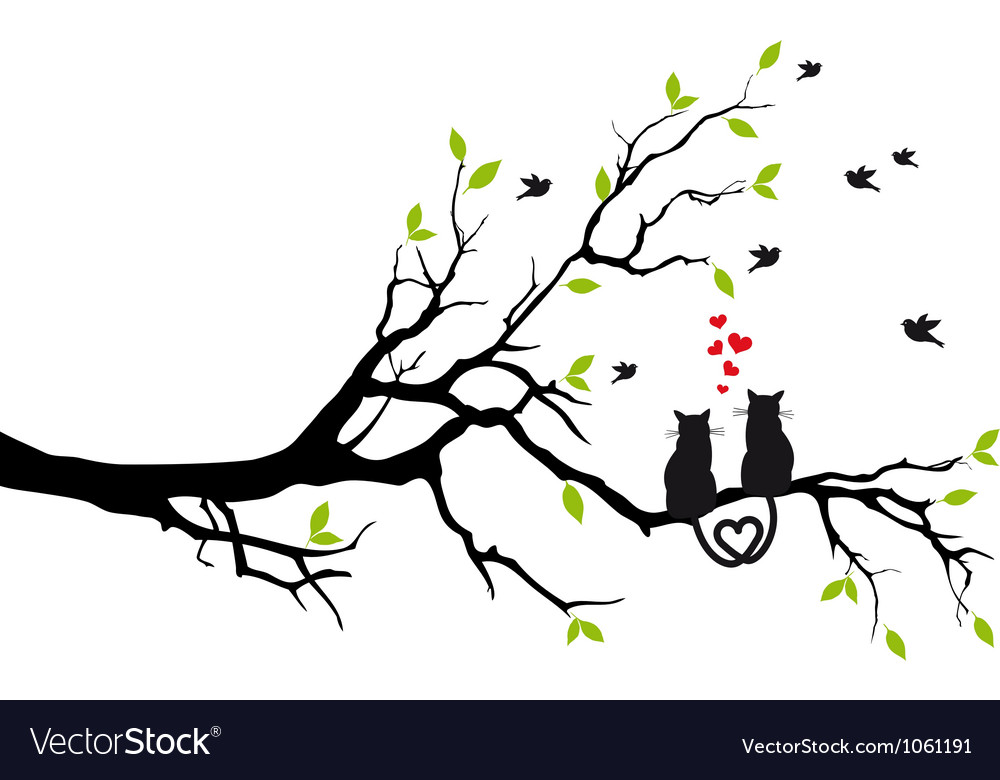 Cats in love on tree vector | Price: 1 Credit (USD $1)