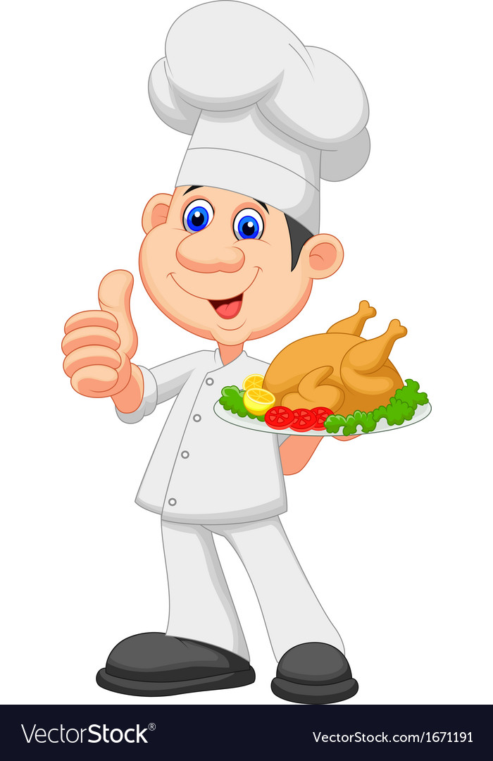 Chef cartoon with roasted chicken vector | Price: 1 Credit (USD $1)