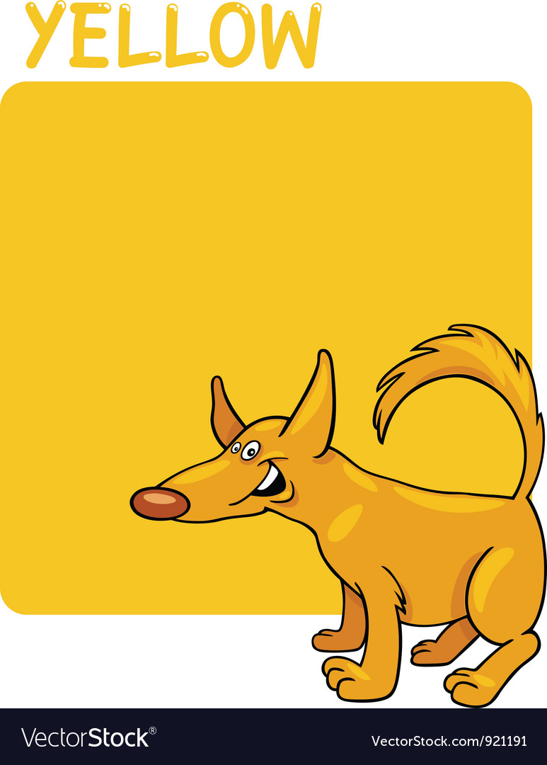 Color yellow and dog cartoon vector | Price: 1 Credit (USD $1)