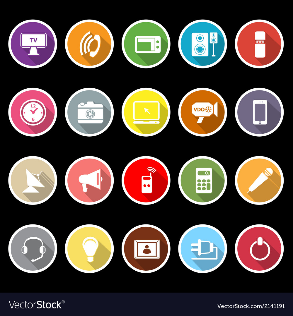 Electronic icons with long shadow vector | Price: 1 Credit (USD $1)