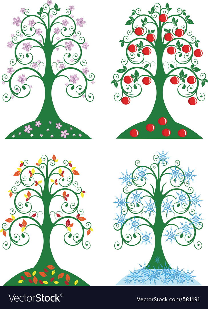 Four seasonal tree vector | Price: 1 Credit (USD $1)
