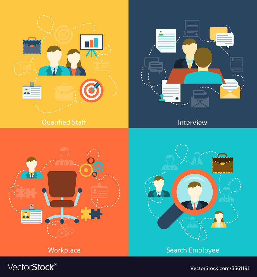 Human resources flat icons composition vector | Price: 1 Credit (USD $1)