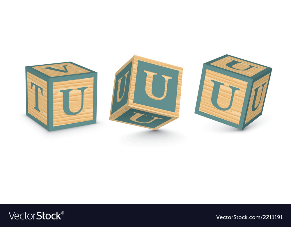 Letter u wooden alphabet blocks vector | Price: 1 Credit (USD $1)
