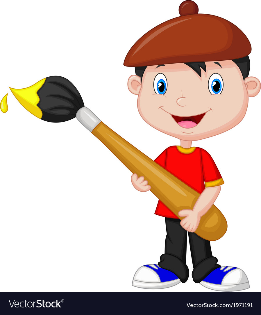 Little boy cartoon is painting with paintbrush vector | Price: 1 Credit (USD $1)