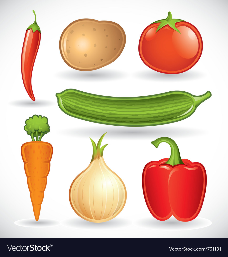 Mixed vegetables - set 1 of 2 vector | Price: 5 Credit (USD $5)
