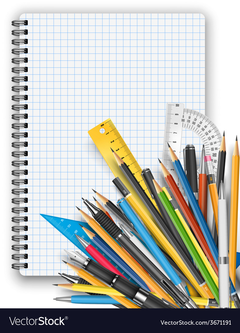 Notepad and pens vector | Price: 1 Credit (USD $1)