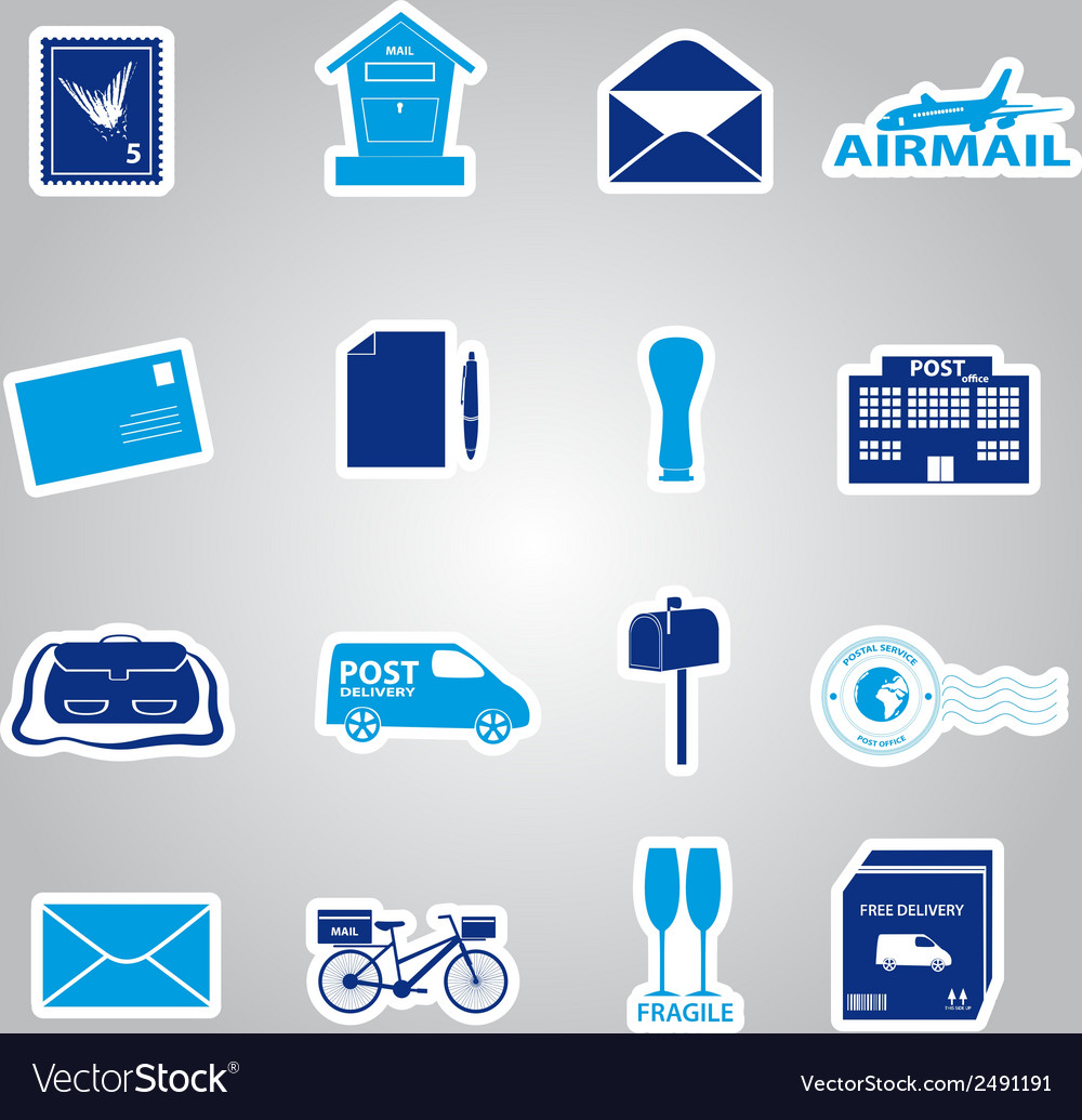 Post and mail blue stickers set eps10 vector | Price: 1 Credit (USD $1)