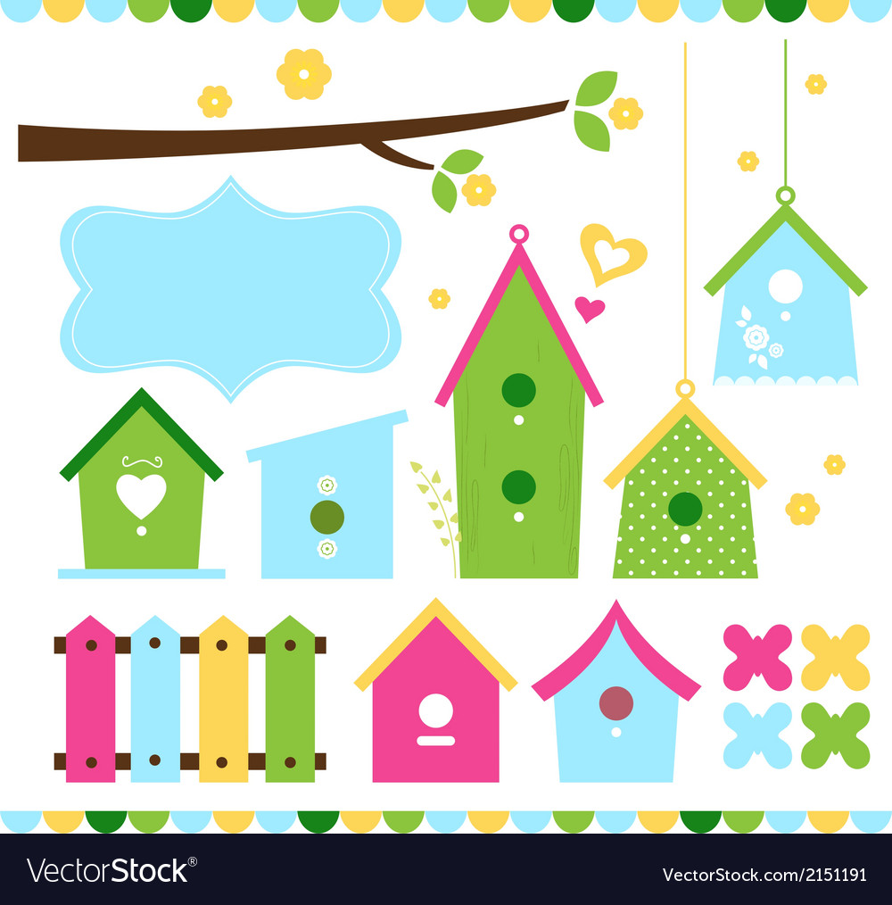 Spring colorful bird houses isolated on white vector | Price: 1 Credit (USD $1)