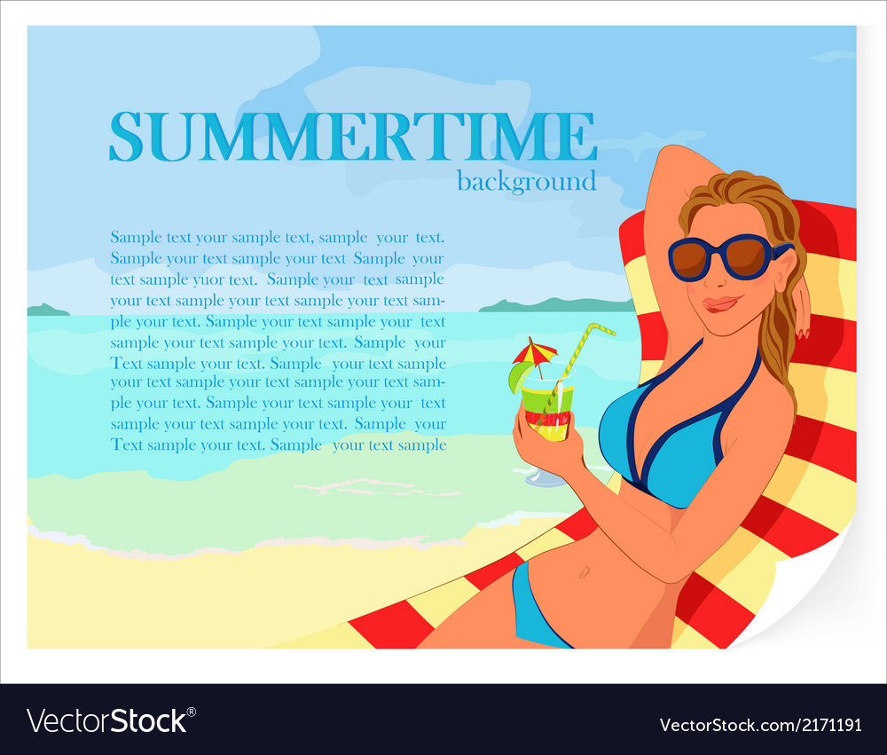 Summer background with girl and cocktail vector | Price: 1 Credit (USD $1)