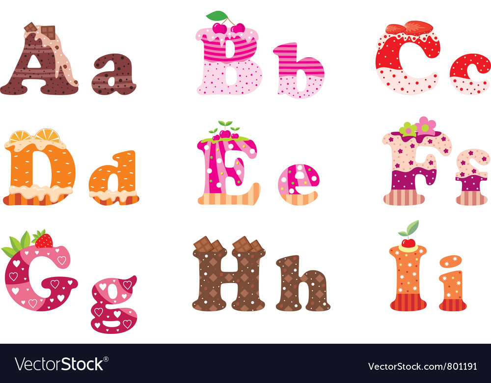 Sweet letters of the alphabet vector | Price: 1 Credit (USD $1)