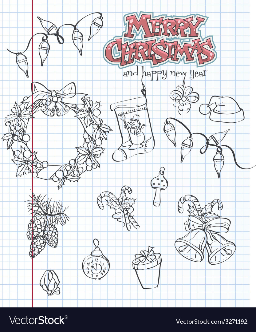 A set of christmas items gifts toys garlands black vector | Price: 1 Credit (USD $1)