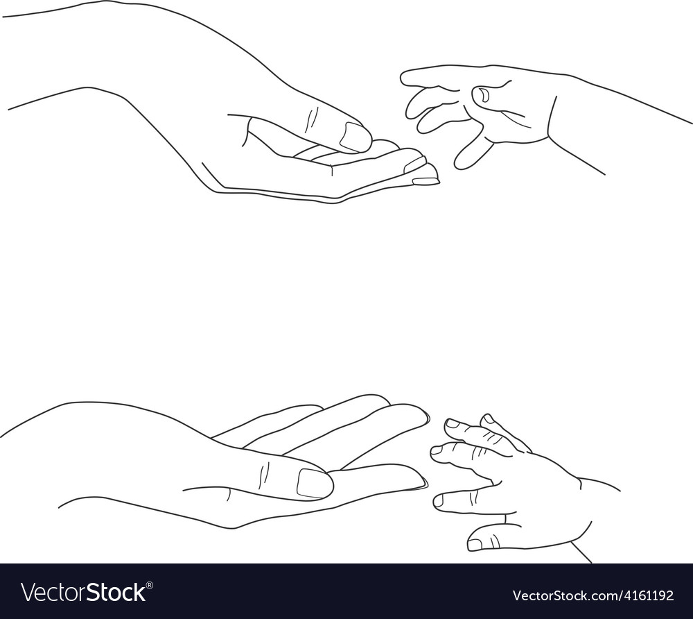 Babys hand reaching up to its mothers palms vector | Price: 1 Credit (USD $1)