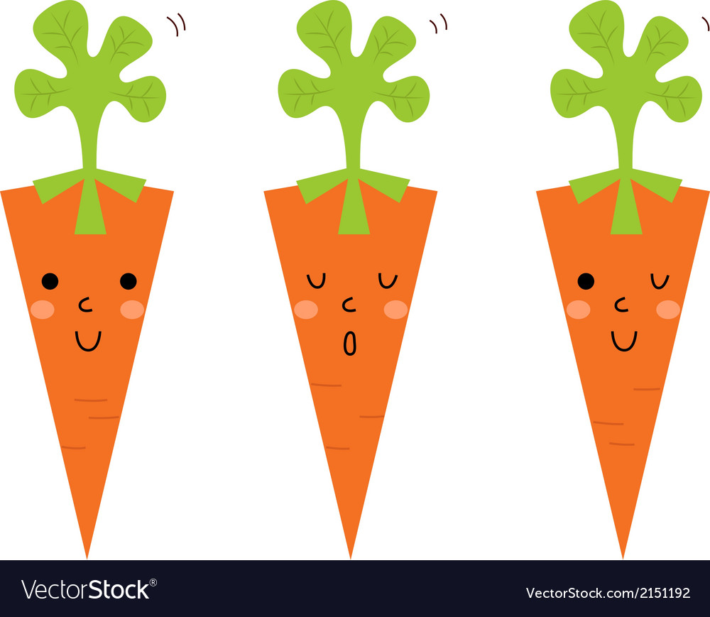 Beautiful cartoon carrots set isolated on white vector | Price: 1 Credit (USD $1)