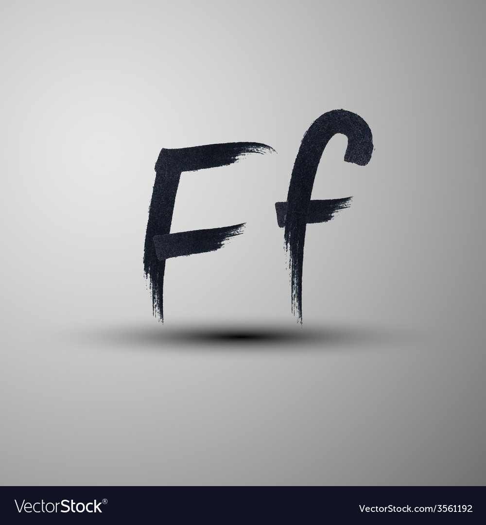 Calligraphic hand-drawn marker or ink letter f vector | Price: 1 Credit (USD $1)