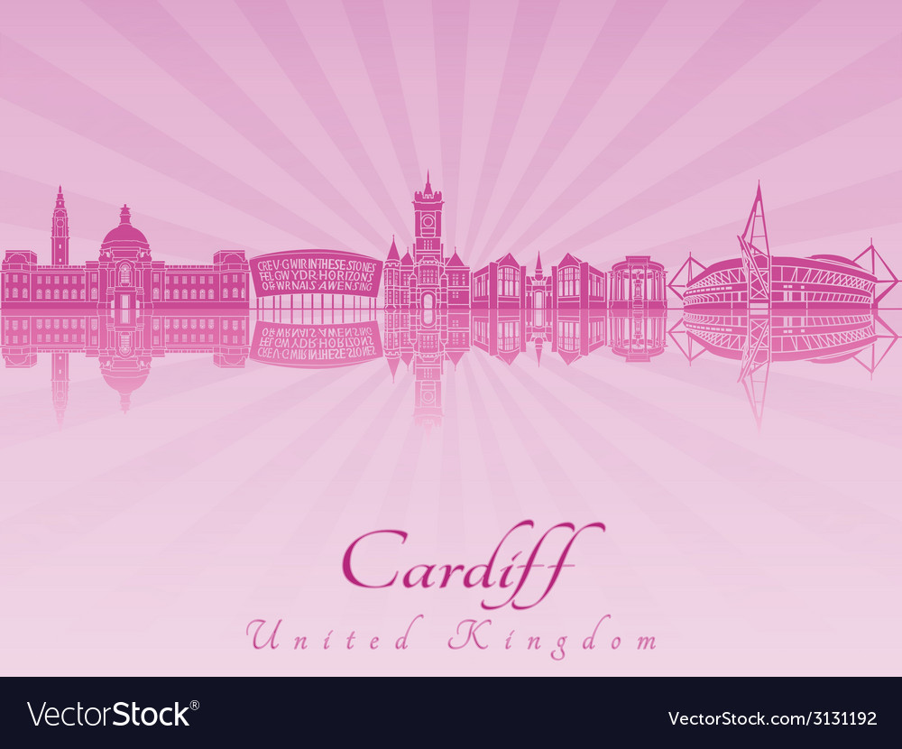Cardiff skyline in purple radiant orchid vector | Price: 1 Credit (USD $1)