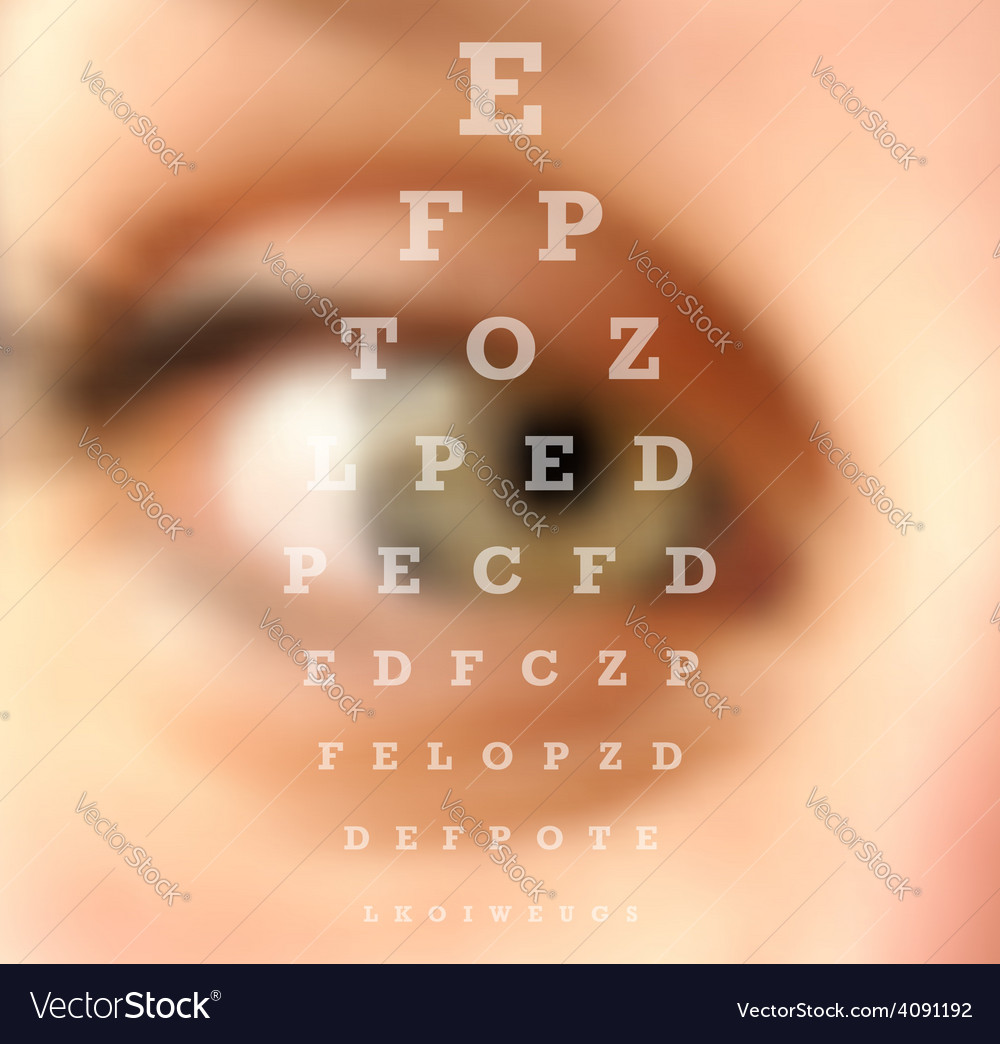 Eye test vision chart blurred effect vector | Price: 1 Credit (USD $1)