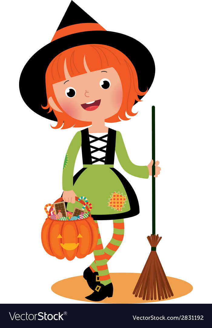 Halloween witch on a white background vector | Price: 1 Credit (USD $1)