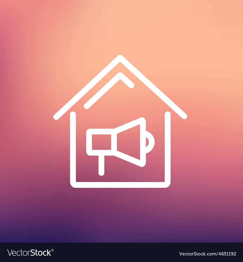House fire alarm thin line icon vector | Price: 1 Credit (USD $1)