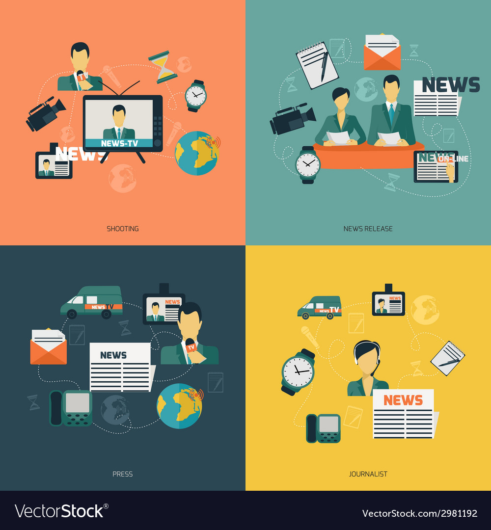 News icons flat vector | Price: 1 Credit (USD $1)