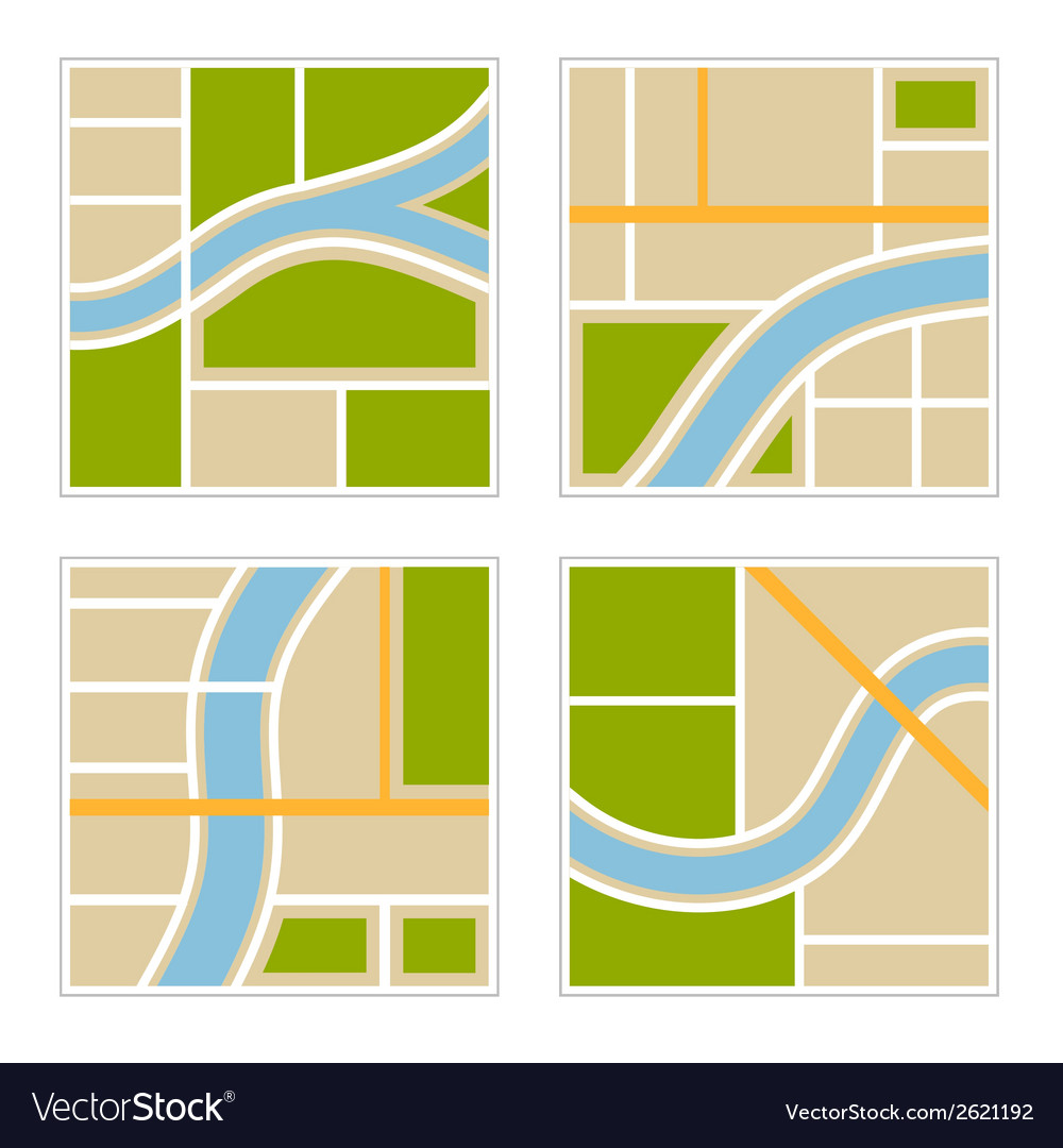 Set of abstract city map vector | Price: 1 Credit (USD $1)