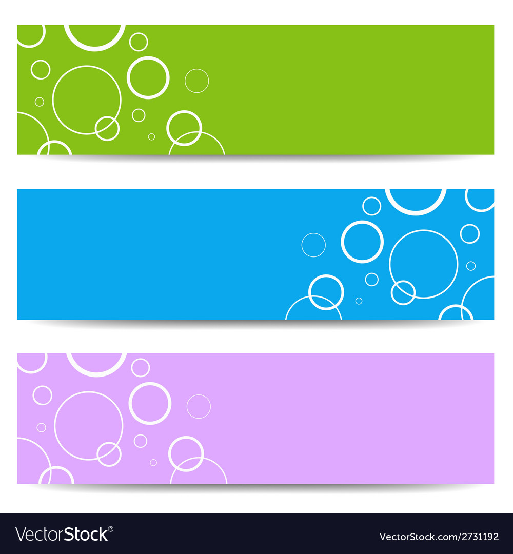 Set of color banners with white circles vector | Price: 1 Credit (USD $1)