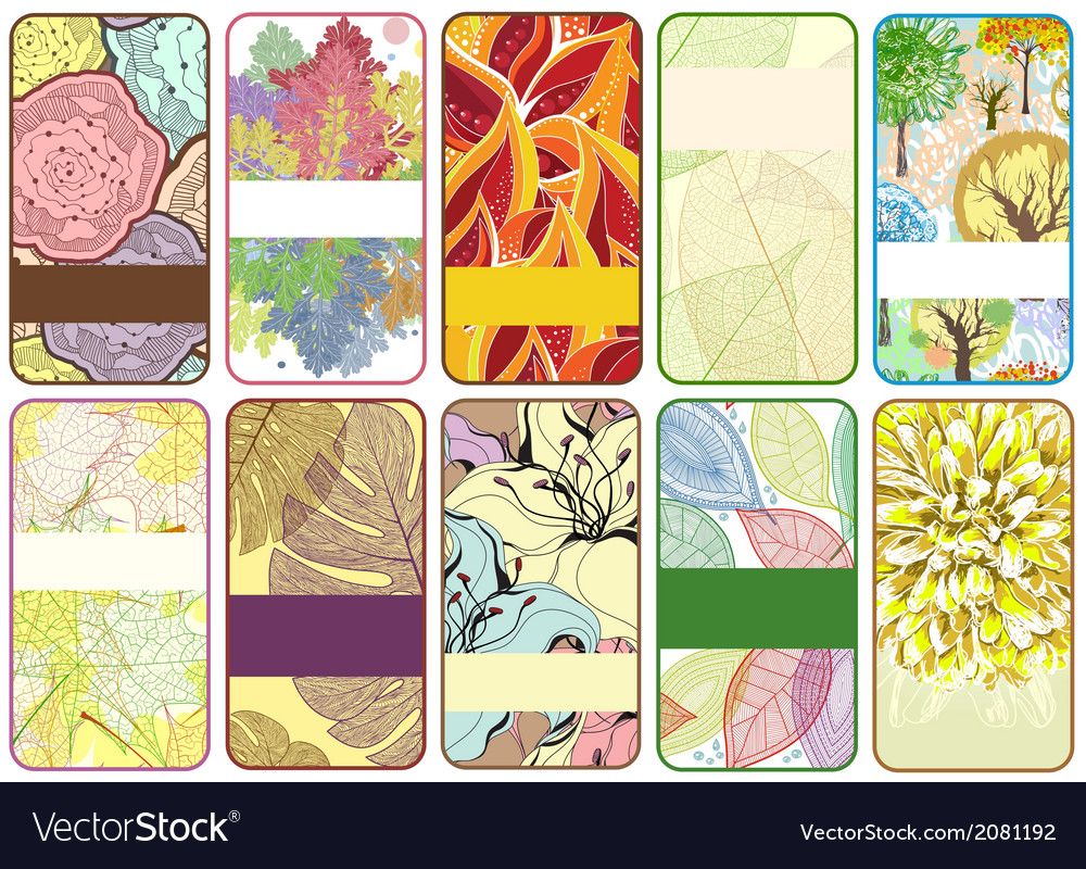 Set of ten colorful autumn cards vector | Price: 1 Credit (USD $1)