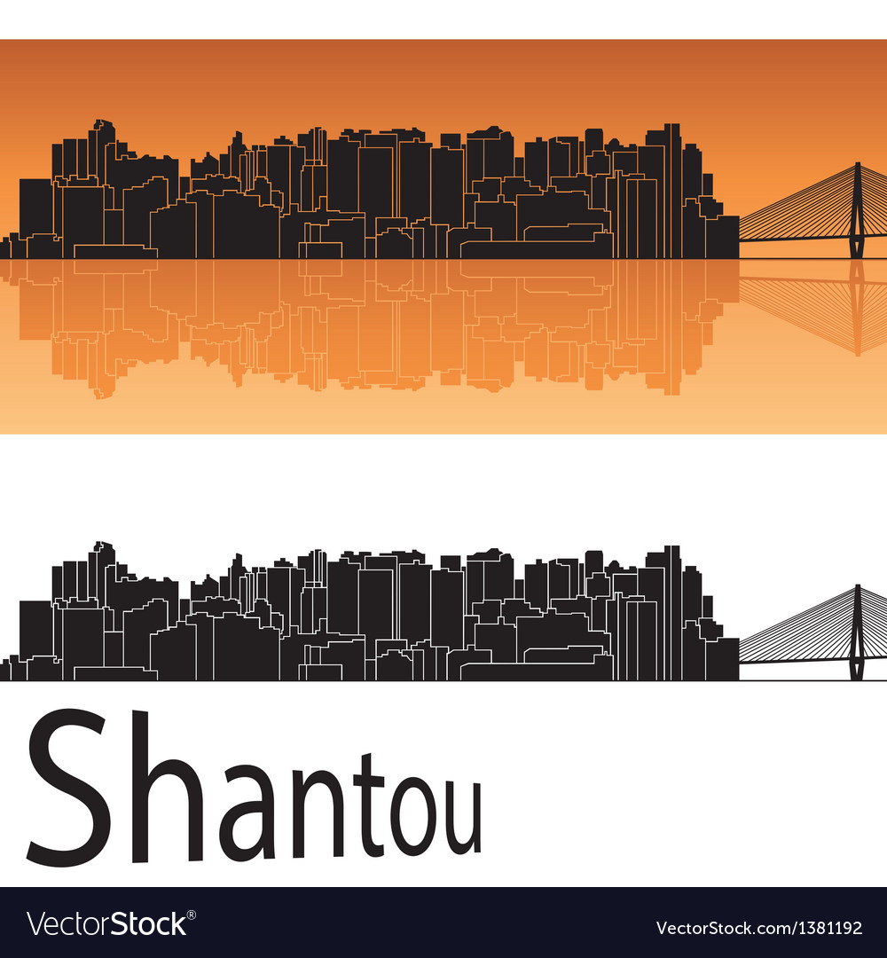 Shantou skyline in orange background vector | Price: 1 Credit (USD $1)