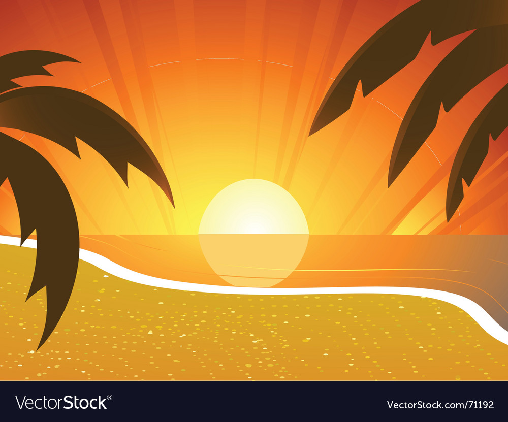 Sunset beach and palm trees vector | Price: 1 Credit (USD $1)