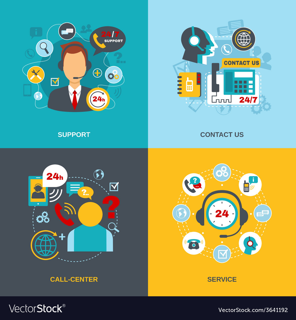 Support contact call center flat vector | Price: 1 Credit (USD $1)