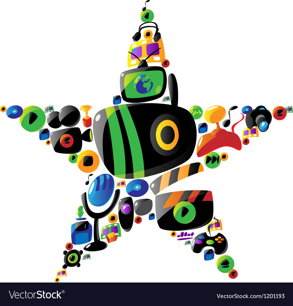 Colorful entertainment and music icons in star vector | Price: 1 Credit (USD $1)