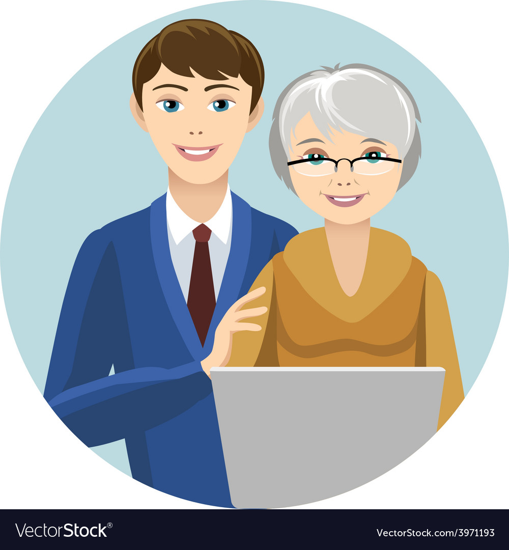 Grandsin and grandmother vector | Price: 1 Credit (USD $1)