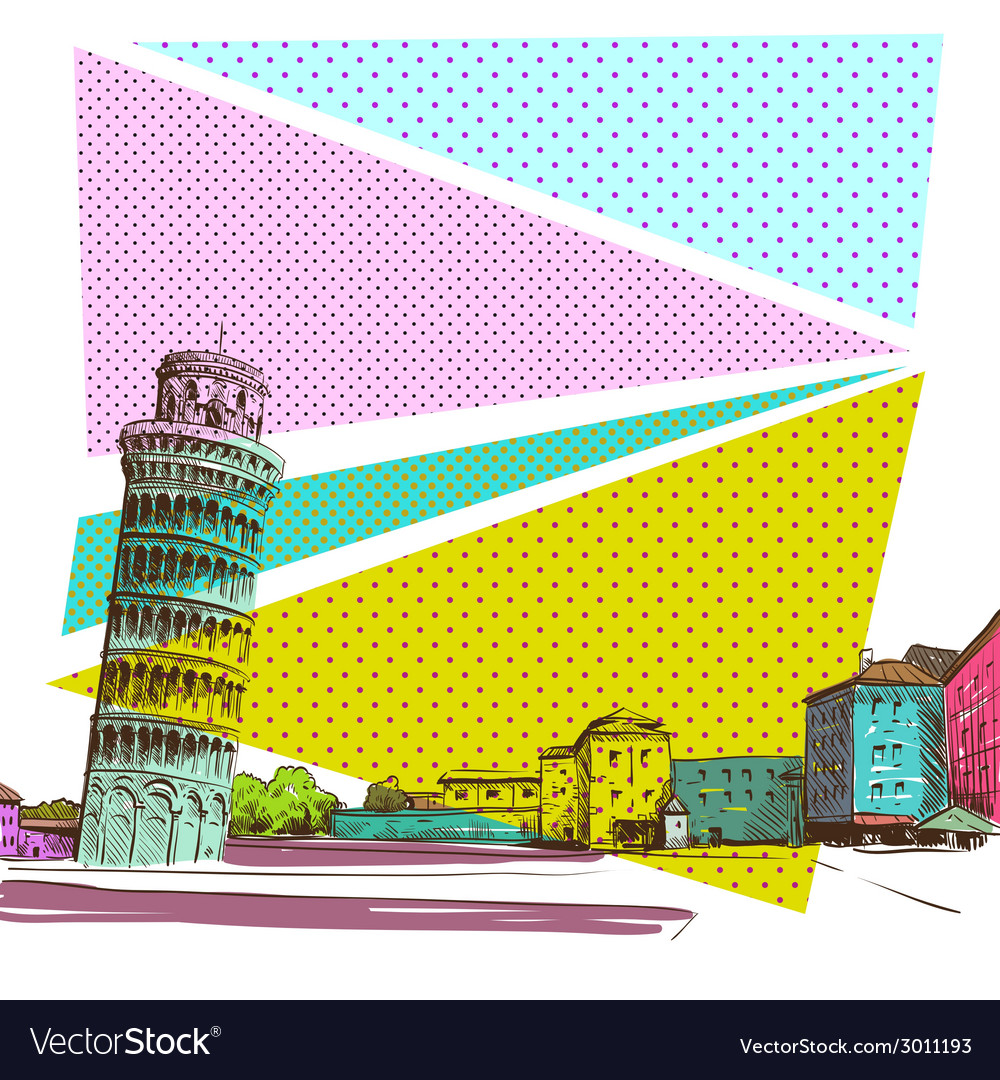 Pisa cityscape drawing vector | Price: 1 Credit (USD $1)