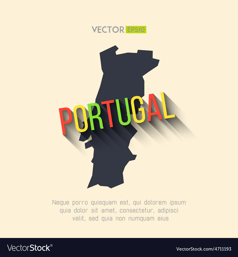 Portugal map in flat design portuguese vector | Price: 1 Credit (USD $1)
