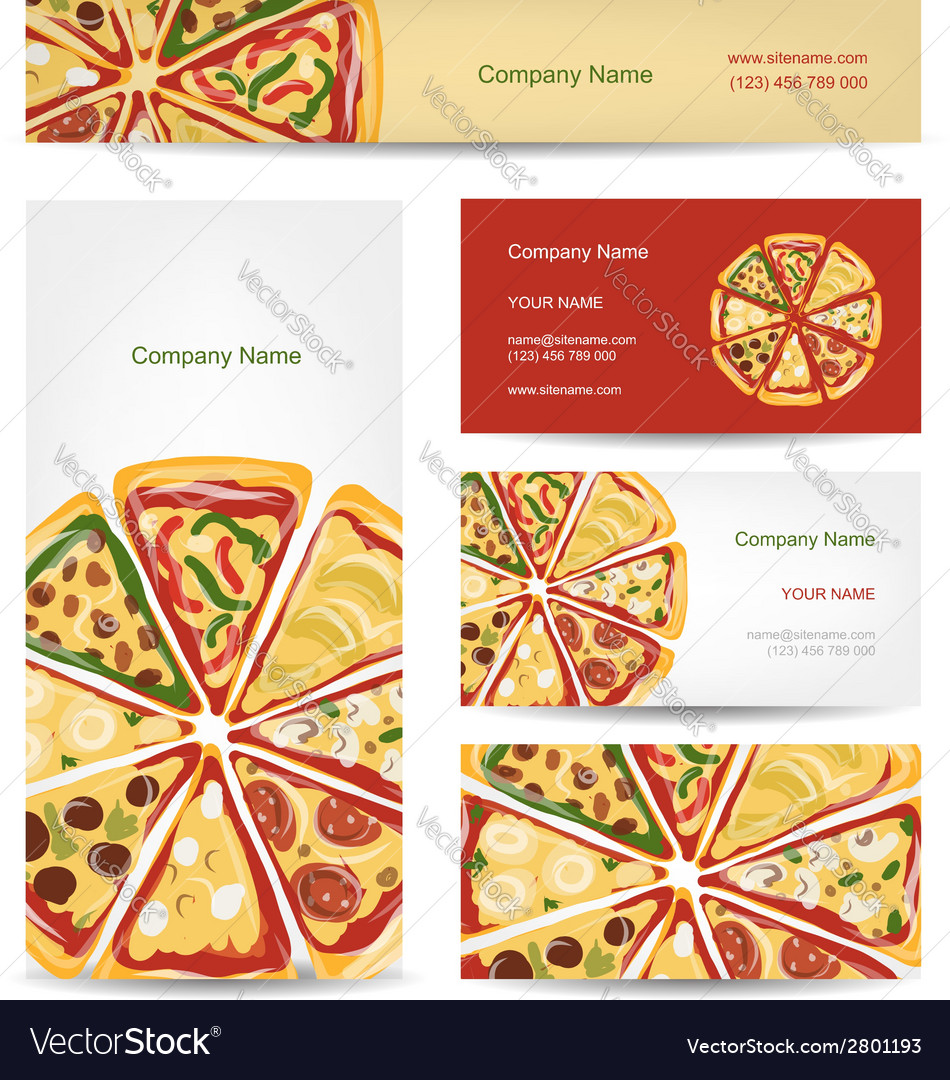 Set of business cards design with pizza slices vector