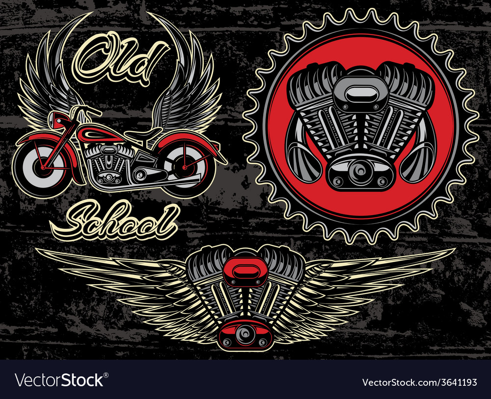 Set of retro emblems on the motorcycle theme vector | Price: 1 Credit (USD $1)
