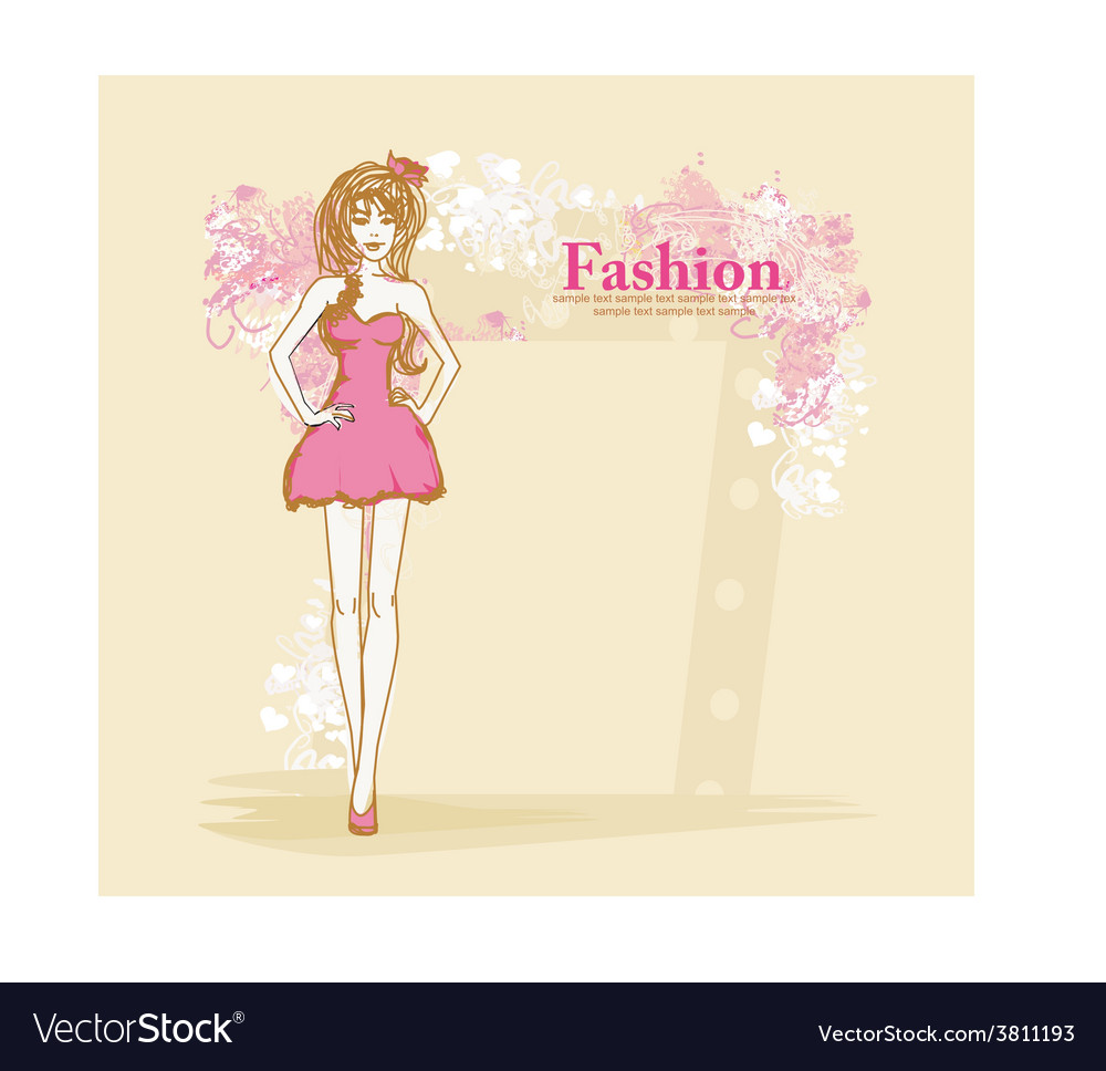 Trendy girl in a short dress on a floral vector | Price: 1 Credit (USD $1)