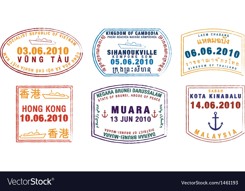 Various ship passport stamps vector | Price: 1 Credit (USD $1)