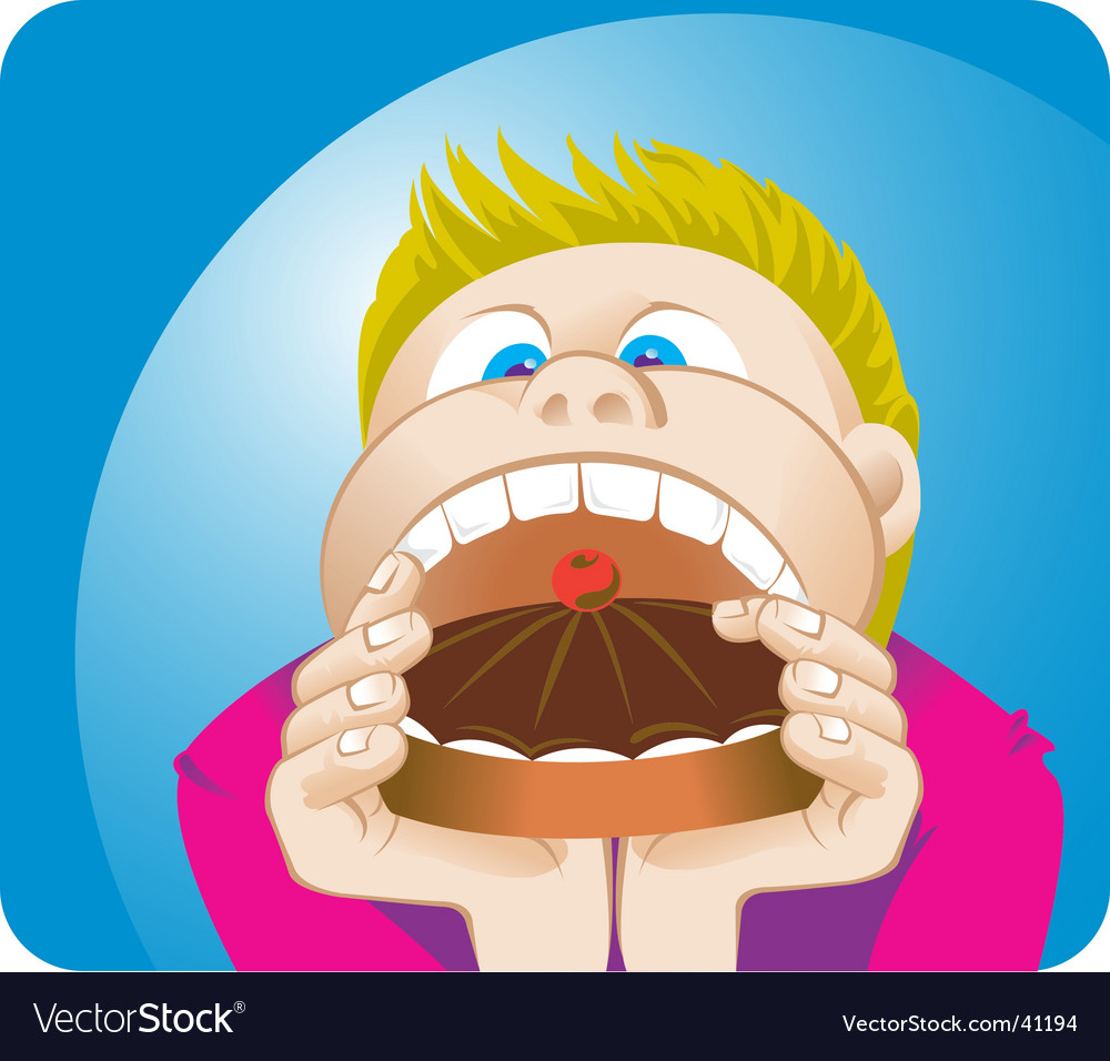 Boy eating vector | Price: 1 Credit (USD $1)
