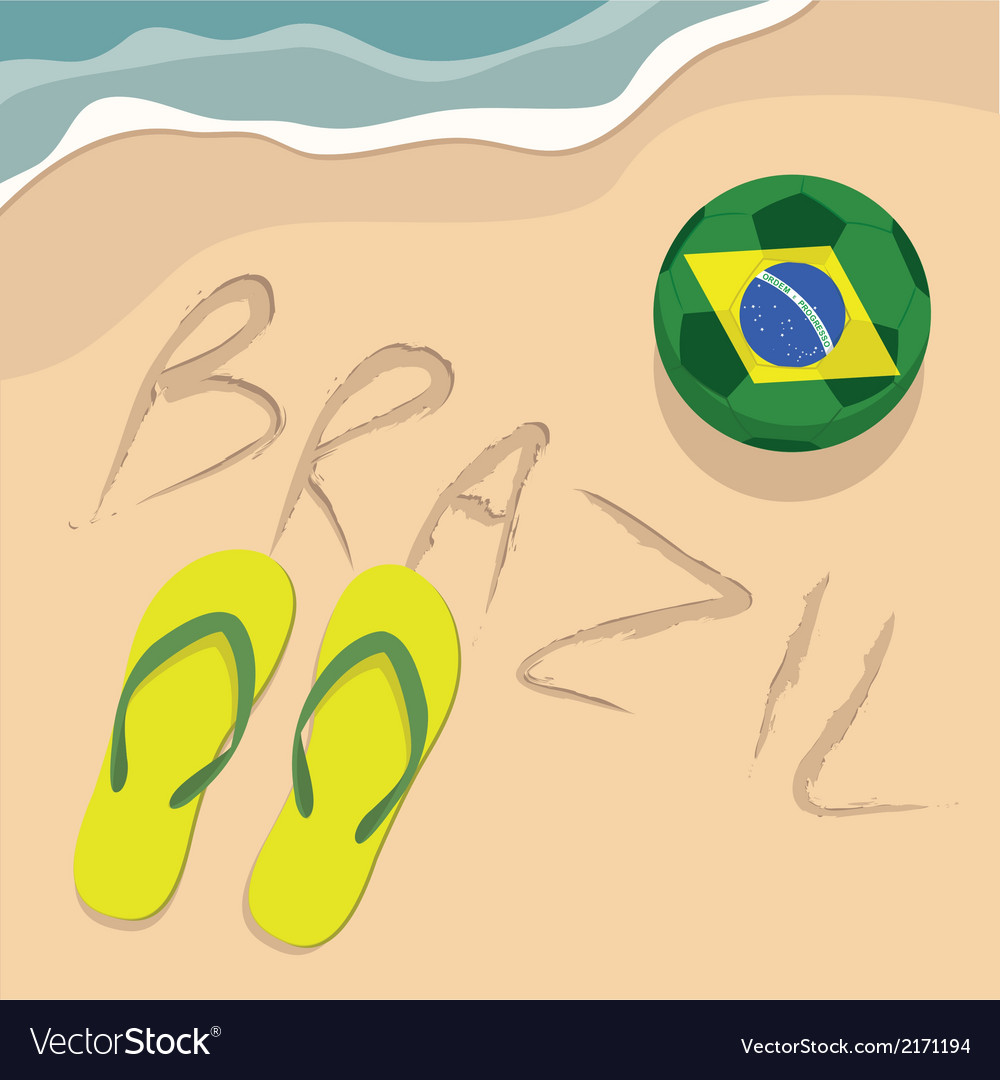 Brazil beach with football and slippers vector | Price: 1 Credit (USD $1)