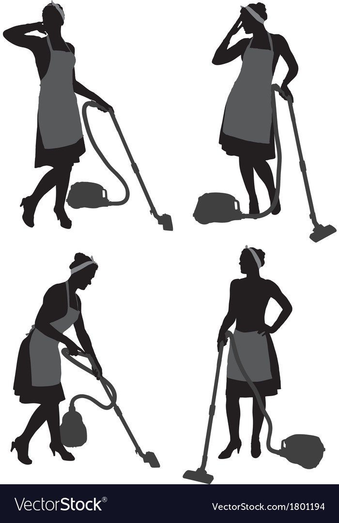 Cleaning lady with vacuum cleaner vector | Price: 1 Credit (USD $1)