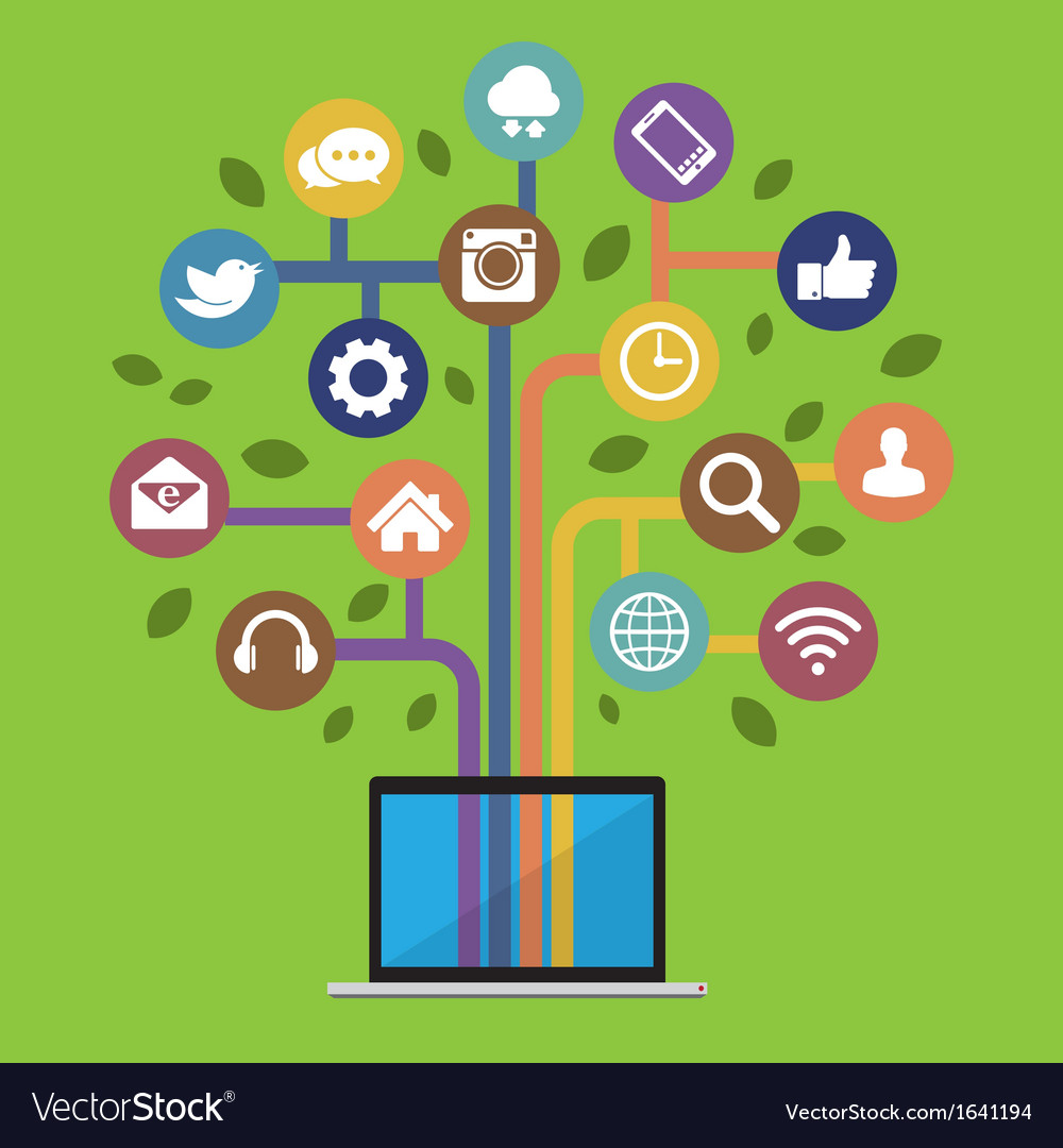 Computer with social media icons vector | Price: 1 Credit (USD $1)
