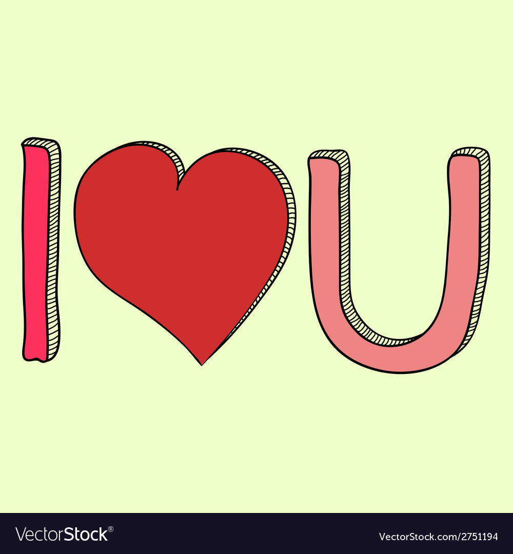 Doodle i love you text vector | Price: 1 Credit (USD $1)