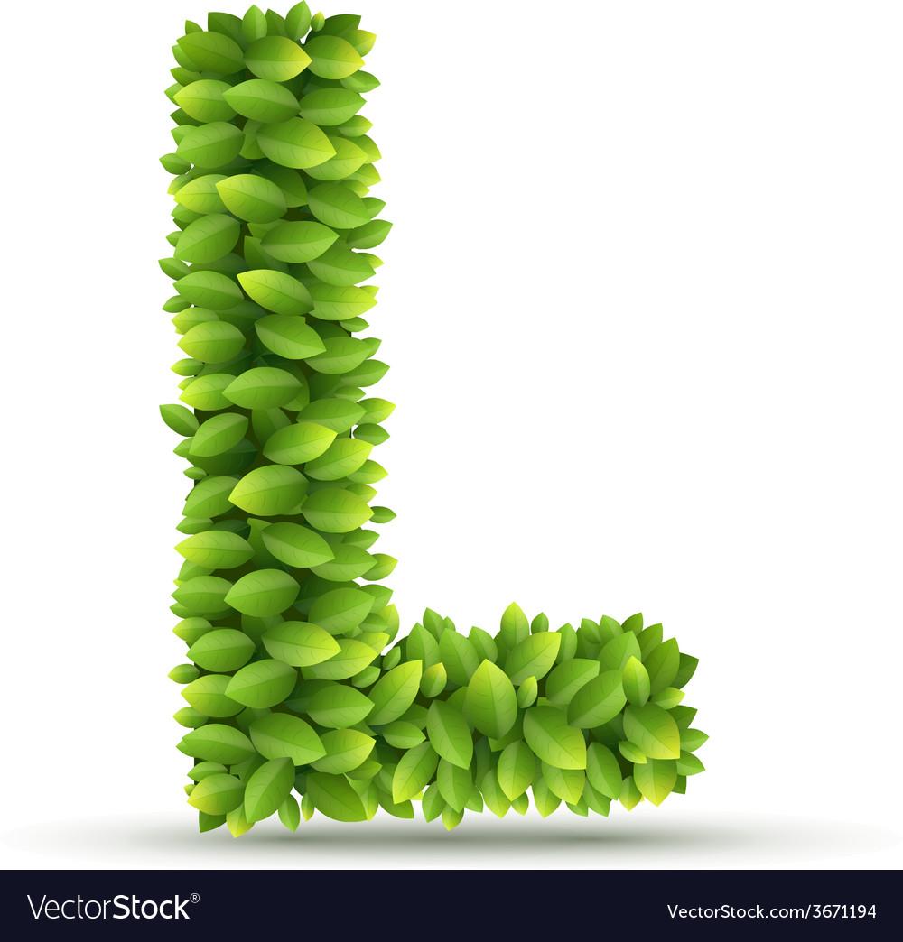 Letter l alphabet of green leaves vector