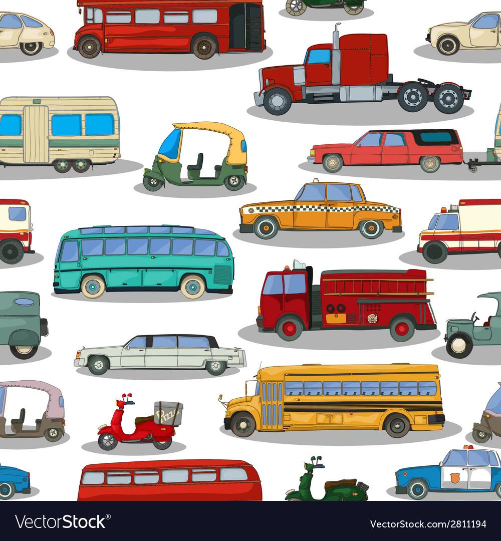 Retro cars pattern vector