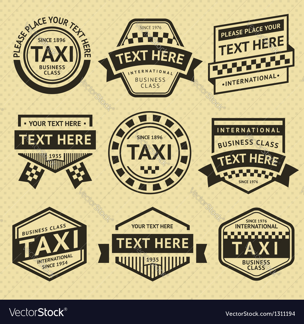 Taxi labels set vintage style vector | Price: 1 Credit (USD $1)