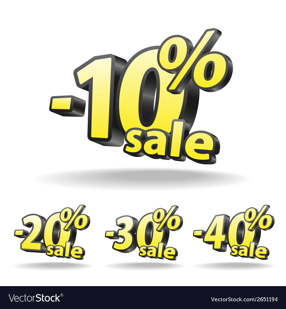 Ten twenty thirty forty percent discount icon on vector | Price: 1 Credit (USD $1)