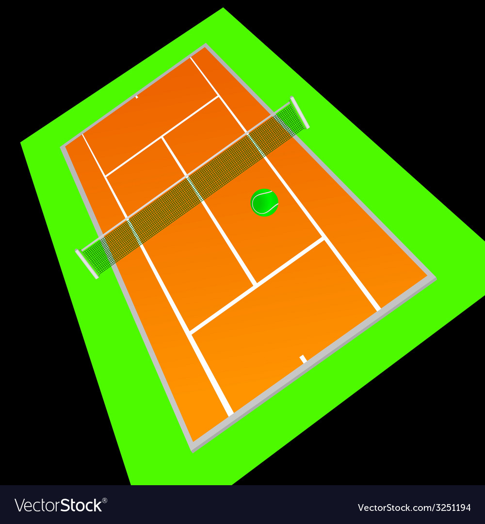 Tennis court orange color vector | Price: 1 Credit (USD $1)