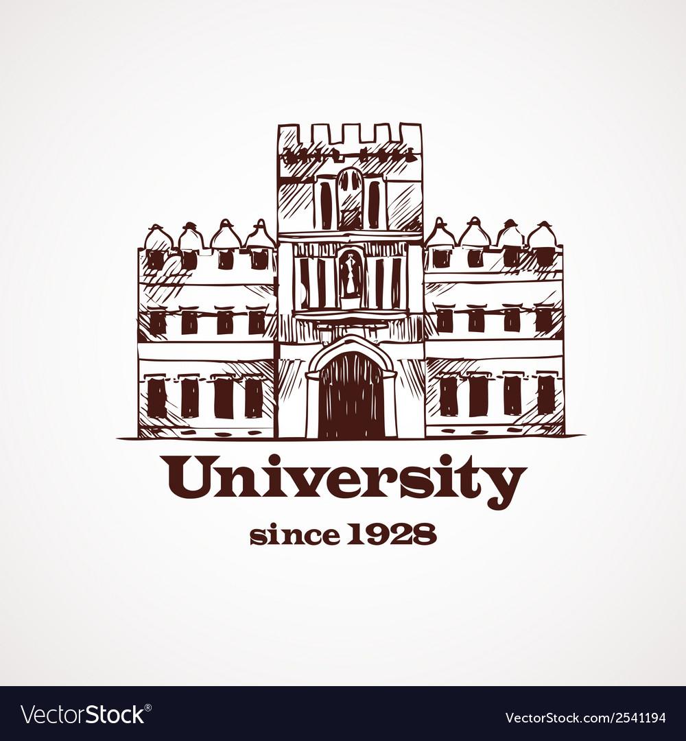 University sketch building vector | Price: 1 Credit (USD $1)