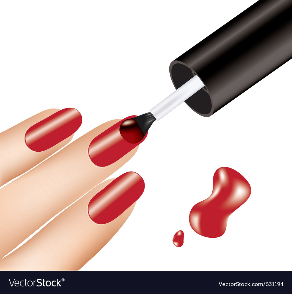 Woman applying red nail polish on fingers vector | Price: 1 Credit (USD $1)